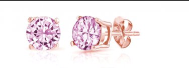 14K Rose Gold Round-cut Pink Sapphire Earrings