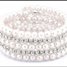 Crystal and Faux Pearl Multi-row Stretch Bracelet