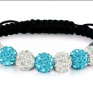 White & Aqua Crystal Stretch Bracelet