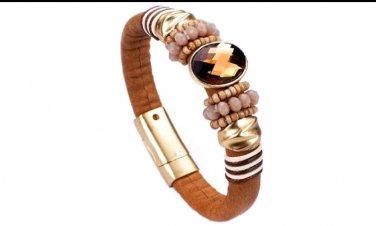 Genuine Leather w/Genuine Crystal Bracelet