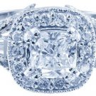18k White Gold Cushion Cut Diamond Engagement Ring Antique Halo Pave Deco 1.30ct