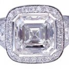 GIA H-VS2 18k White Gold Asscher Cut Diamond Bezel Engagement Ring Deco 3.30ctw