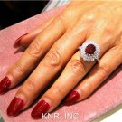 3.87CT OVAL RUBY & ROUND DIAMONDS ANTIQUE DESIGN RING