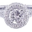 GIA H-SI1 18K WHITE GOLD ROUND CUT DIAMOND ENGAGEMENT RING ETERNITY HALO 1.45CT