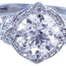 14k White Gold Round Cut Diamond Engagement Ring Edwardian Deco 1.95ctw