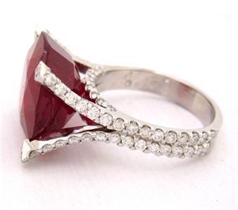 18K WHITE GOLD 14.40CTW CUSHION CUT RUBY DIAMOND RING MICRO PAVE SET