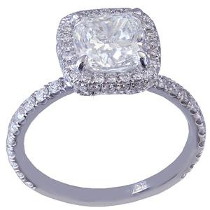 14K WHITE GOLD CUSHION CUT DIAMOND ENGAGEMENT RING DECO HALO 2.05CT G-VS2 EGL US