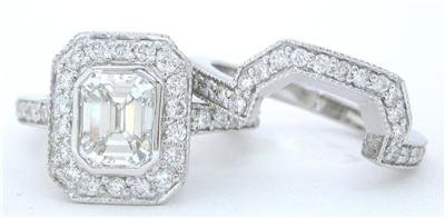 2.00CT EMERALD CUT DIAMOND ENGAGEMENT RING & BAND SET
