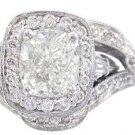 18K CUSHION CUT DIAMOND ENGAGEMENT RING AND BANDS ART DECO STYLE 2.70CTW