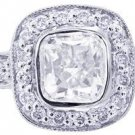 14K WHITE GOLD CUSHION CUT DIAMOND ENGAGEMENT RING BEZEL 1.45CTW H-VS2 EGL USA