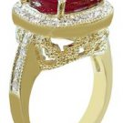 18K YELLOW GOLD CUSHION RUBY AND ROUND CUT DIAMOND ANTIQUE DESIGN RING 5.80CTW