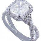 18k White Gold Cushion Cut Diamond Engagement Ring Deco Halo Split Shank 2.80ctw
