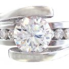 14K WHITE GOLD ROUND CUT TENSION SET DIAMOND ENGAGEMENT RING 1.90CTW