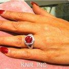 5.37CT CUSHION RUBY & ROUND DIAMONDS DESIGNER RING