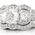14K WHITE GOLD ROUND DIAMOND ENGAGEMENT RING & BANDS ART DECO 2.60CT