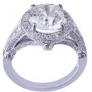 14K WHITE GOLD ROUND CUT DIAMOND ENGAGEMENT RING ANTIQUE DECO STYLE 3.15CTW