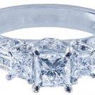 14k White Gold Princess Cut Diamond Engagement Ring Art Deco Round Cut 1.95ctw