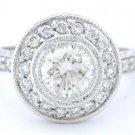 ROUND DIAMOND ENGAGEMENT RING BEZEL SET DECO 1.25CT 14K