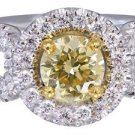 14K WHITE GOLD ROUND CUT DIAMOND ENGAGEMENT RING FANCY YELLOW DECO HALO 1.15CT