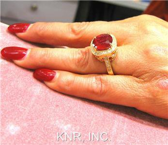 5.72CT CUSHION RUBY & ROUND DIAMOND ANTIQUE DESIGN RING