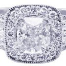 14K WHITE GOLD CUSHION CUT DIAMOND ENGAGEMENT RING ANTIQUE STYEL 1.70CT