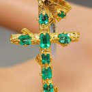 18K Yellow Gold Emerald Cut Green Emerald Pendent Cross Style 1.20ctw