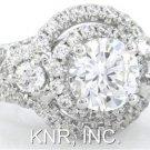 14K WHITE GOLD ROUND CUT DIAMOND ENGAGEMENT RING 2.25CT ART DECO