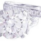 GIA H-SI1 18K White Gold Round Cut Diamond Engagement Ring And Band Deco 2.40ctw