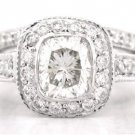 CUSHION CUT DIAMOND ENGAGEMENT RING & BAND 1.72CTW DECO