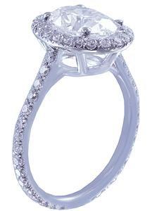 18k White Gold Oval Cut Diamond Engagement Ring Art Deco Halo Prong Set 1.30ctw