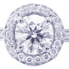 18K WHITE GOLD ROUND CUT DIAMOND ENGAGEMENT RING DECO HALO 1.76CT H-SI1 EGL USA