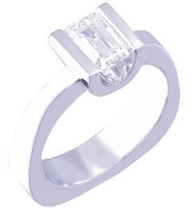 14K WHITE GOLD EMERALD CUT DIAMOND ENGAGEMENT RING SEMI TENSION SET 0.75CT