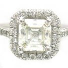 18K ASSCHER CUT DIAMOND ENGAGEMENT RING 1.90CT