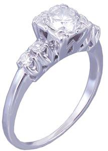 14k White Gold Round Cut Diamond Engagement Ring Art Deco Antique Style 0.82ct