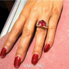 5.24CT OVAL RUBY & ROUND DIAMONDS ANTIQUE DESIGN RING