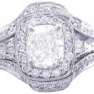 14K CUSHION CUT DIAMOND ENGAGEMENT RING AND BANDS ART DECO 2.70CTW