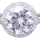 18k White Gold Round Diamond Engagement Ring Antique Deco 5.00ctw H-VS2 EGL USA
