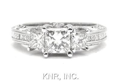 PRINCESS & ROUND DIAMOND ENGAGEMENT RING 2.43CT ANTIQUE