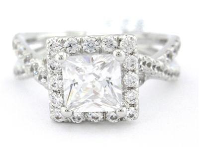 PRINCESS CUT DIAMOND ENGAGEMENT RING ART DECO 1.50CTW