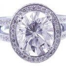 GIA H-VS2 18K White Gold Oval Cut  Diamond Engagement Ring Art Deco Halo 2.80ctw