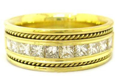 PRINCESS CUT DIAMOND MEN'S BAND 8.5MM 1.00CTW