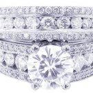 14K WHITE GOLD ROUND DIAMOND ENGAGEMENT RING & BAND ART DECO STYLE 3.55CTW