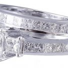 14K WHITE GOLD PRINCESS CUT DIAMOND ENGAGEMENT RING AND BAND 2.40CT H-VS2 EGL US