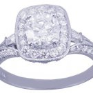 14k White Gold Round Cut Diamond Engagement Ring Antique Style Prong Set 1.75ctw