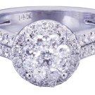 14k White Gold Round Cut Diamond Engagement Ring Art Deco Prong Set 1.39ctw