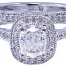 14k White Gold Cushion Cut Diamond Engagement Ring And Band Art Deco Halo 1.45ct