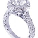 18K WHITE GOLD ROUND CUT DIAMOND ENGAGEMENT RING DECO HALO 1.95CT H-SI1 EGL USA