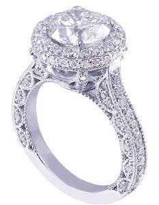 18K WHITE GOLD ROUND CUT DIAMOND ENGAGEMENT RING DECO HALO 1.95CT H-SI1 EGL USA