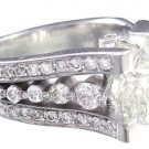 14K WHITE GOLD ROUND CUT DIAMOND ENGAGEMENT RING ART DECO STYLE 2.50CTW