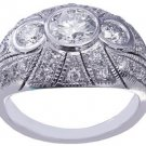 14k White Gold Round Cut Diamond Engagement Ring Bezel Set Art Deco Halo 1.30ctw